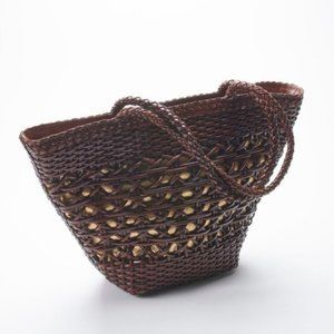 Vintage CEM Leather Woven Tote Bag